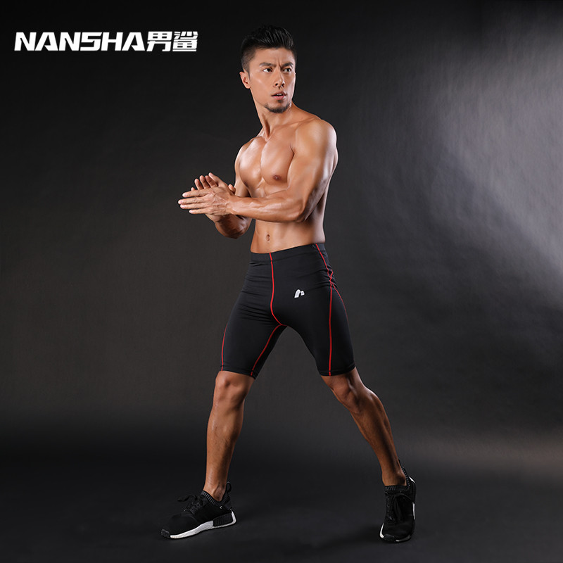 NANSHA Compressiebroek voor heren Line Short Tights Skinny Bodybuilding Ademend MMA Man's Bottom Compressed Fitness shorts