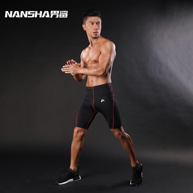 NANSHA Mens Compression Shorts Line rövid harisnya Skinny Bodybuilding Lélegző MMA férfi alsó tömörített fitness nadrág