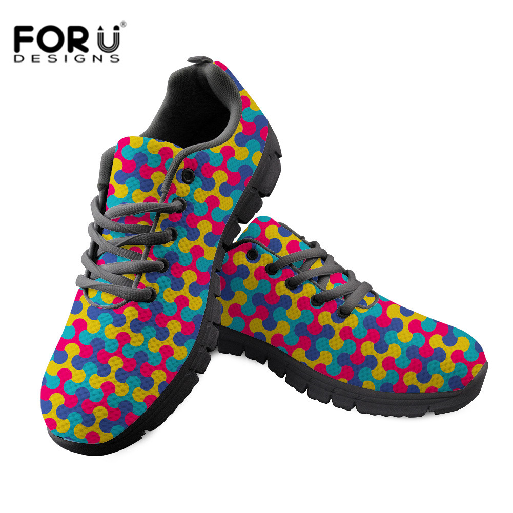 FORUDESIGNS Fashion Women Vulcanized Shoes Sneakers Graffiti Pattern Ladies Lace up Casual Shoes Breathable Flat Shoes Wholesale