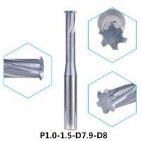 Tungsten Carbide Alloy Single Teeth Metric Thread Milling Cutter 1pc P1 0 1 5 D7 9