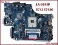 Alta quanlity laptop motherboard para acer 5742 5742g new7 la-5893p hm55 motherboard 100% trabalho