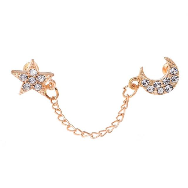 2017 Limited Sale Star Rhinestone Trendy Zinc Alloy Women Earings Brincos 1 Two Piercing Ear Cuff Ring Chain Double Earring 2