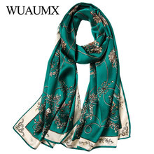 a3c77fcf579b Wuaumx Real Silk Scarf For Women Soft Shawl Autumn Winter Ladies Long  Echarpe