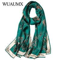 Wuaumx High Quality Real Silk Scarf For Women Soft Shawl Autumn Winter Ladies Scarves Long Scarf Echarpe Foulard Femme 18Colors