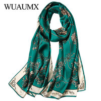 Wuaumx High Quality Real Silk Scarf For Women Soft Shawl Autumn Winter Ladies Scarves Long Scarf Echarpe Foulard Femme 18Colors