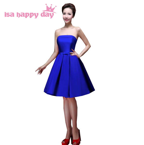 multi color purple elegant   bridesmaid     dress   satin strapless juniors   bridesmaids   teens   dresses   royal blue H2905