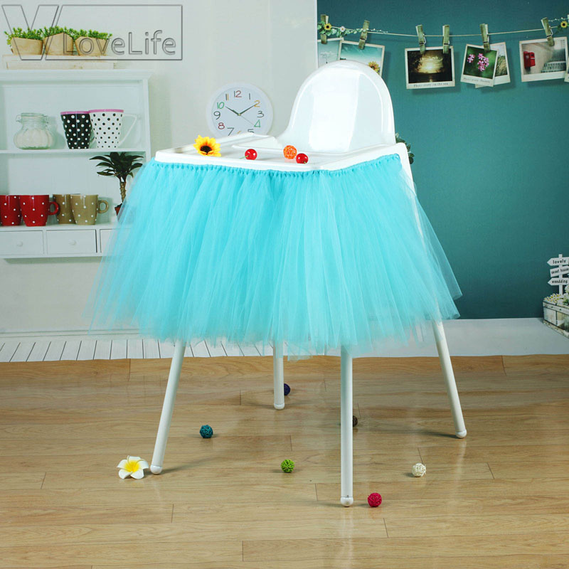 Tutu Tulle Chair Skirts Baby Shower Birthday Table Skirt Decoration For  High Chair Home Textiles Party