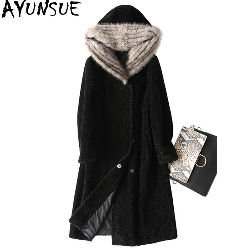 Femmes Longues Vison 2018 Veste Mouton Black Manteau Ayunsue D'hiver Capuchon Kj708 Vestes De À Laine Fourrure Réel Femelle wHYBqH