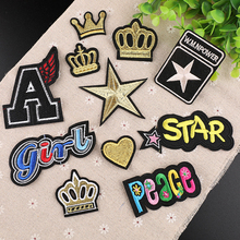 Badge crown star Patch Iron on Embroidered Sew Applique  Fabric Garment DIY Apparel Accessories