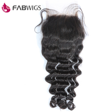 Fabwigs 3.5X4″ Free Part Lace Closure Peruvian Deep Wave Closure Bleached Knots 100% Remy Human Hair Piece Freeshipping
