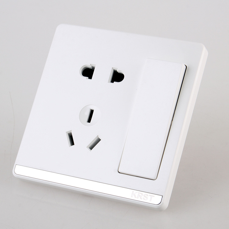 Home Installed Wall Switch Socket 86 Type Concealed Large Board Jade White Five Hole Socket With