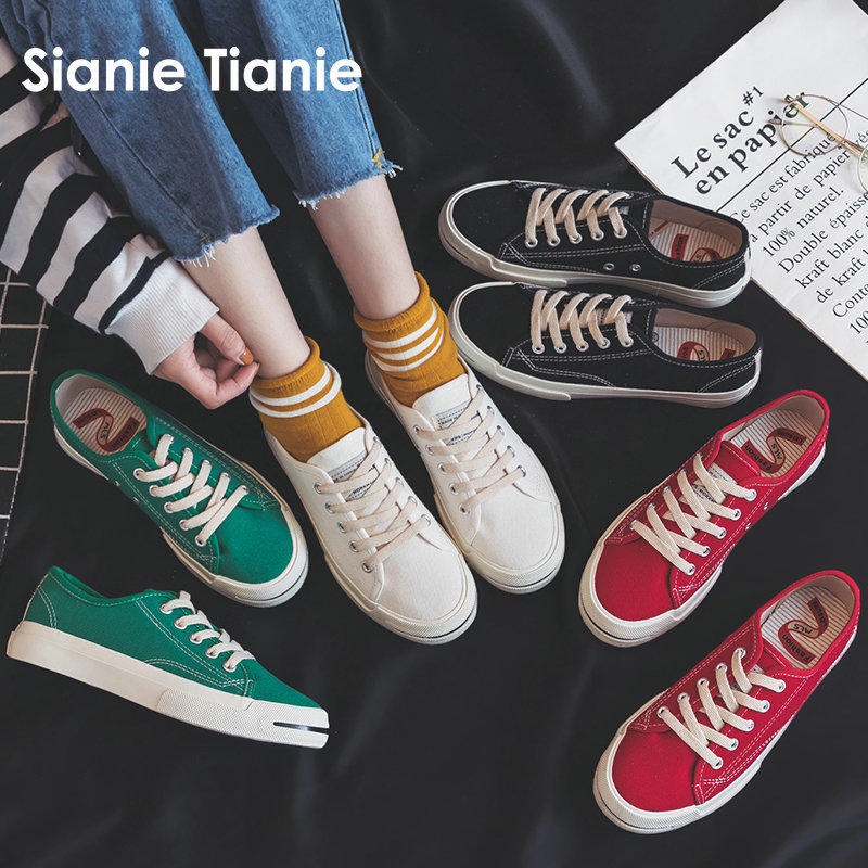 Sianie Tianie green red girl low top men woman cotton canvas shoes casual flats vulcanized sneakers shoes women big size 43 44 mint green casual sleeveless hooded top
