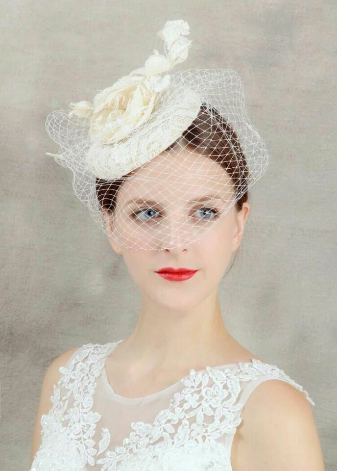 2018 Women Wedding Bridal Hat Beige Linen Wedding Party Handmade Tiara sheer veil Hair Wedding Accessories With Issuing