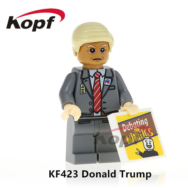 Building Blocks Single Sale Donald Trump Hillary Clinton Mr.Bean Super Heroes Bricks Best Education Toys for children KF423