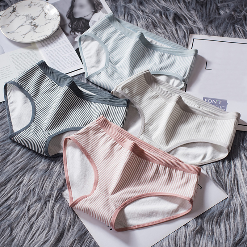 2019 New Intimates Cotton   Panties   Breathable Female Striped Hot Sale Underwear Lingerie Women Briefs 1PC Girls Popular