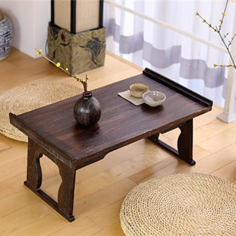 Solid Wood Antique Tea Table Folding Legs Rectangle Tatami Mattress Window  Folding Bed Computer Table Burning