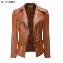 New Autumn And Winter PU Leather Motorcycle Zipper Jackets 2019 Women Long Sleeves Lower Edge Detachable Punk Basic Street Coat