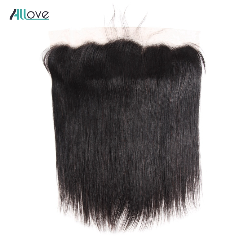 Allove Peruvian Straight Hair Frontal 13x4 Ear To Ear Lace Frontal Closure Free Part Swiss Lace
