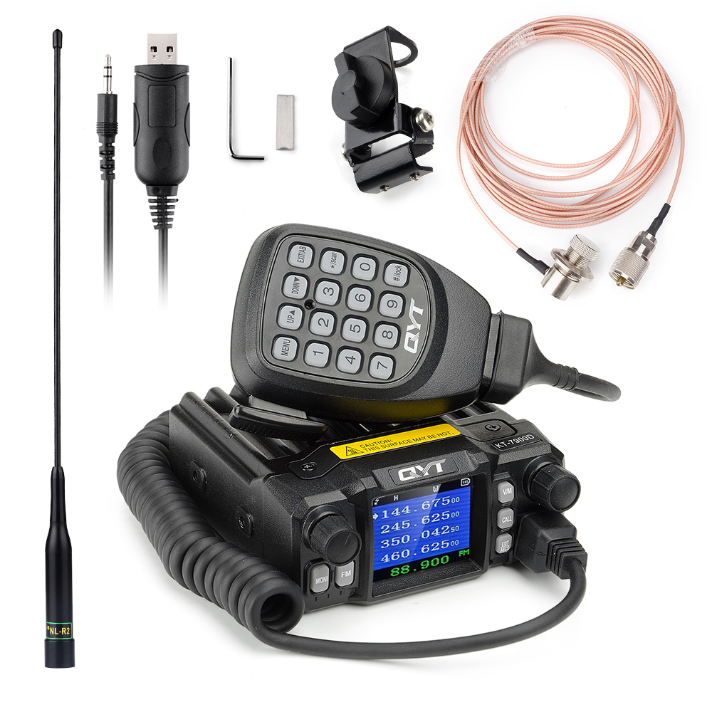 QYT KT-7900D Mini Amateur Mobile Transceiver Quad Band 144/220/350/440MHZ 25W Ham Car Mobile Radio with Program Cable+ Rich Gift