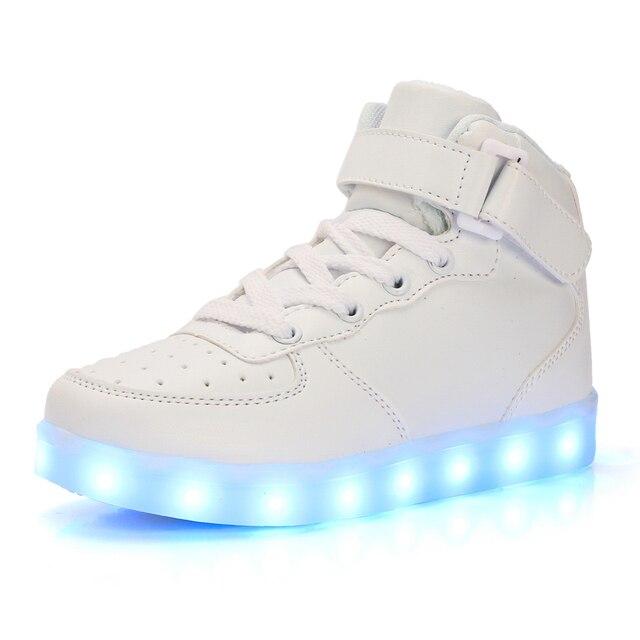 Унисекс Мужчины USB Зарядки Высокие Светящиеся Светодиодные Обувь 7 Цветов Мигающий Повседневная Кроссовки для Взрослых Размер 35-46