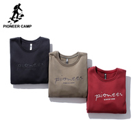 Pioneer Camp letter embroidery men hoodies brand clothing casual winter thick warm fleece sweatshirt male green red AWY702298 1