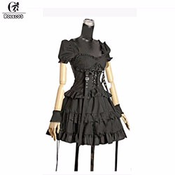 New-Cotton-Women-Short-Sleeve-Black-Victorian-Corset-Gothic-Lolita-Dress-Ball-Gown-Customized-Dresses