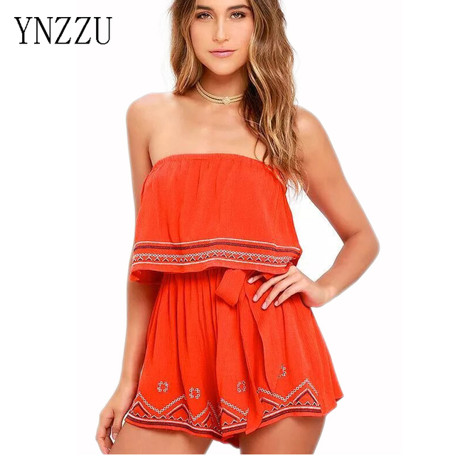 YNZZU Womens summer slash neck off the shoulder jumpsuits embroidery Bohemian style bodysuit brandage Femininas tube topYJ022