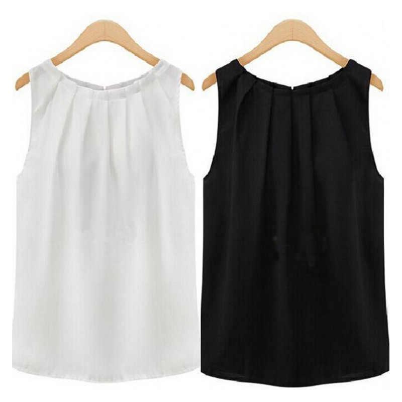 Размеры S/M/K/XL/XXL/XXXL, хит, Прямая поставка, офисные женские удобные шифоновые Блузы 5 цветов, 1 шт., белые женские блузки без рукавов, Черные Мягкие Блузки
