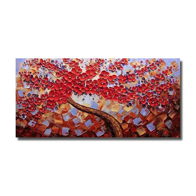 Red Flower Painting Large Canvas Wall Art Hand Painted Oil Painting