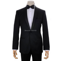 2016 Custom Design Black One button Satin Lapel Groom Tuxedos Groomsmen Men Wedding Suits Bridegroom (Jacket+Pants+Girdle+Tie)