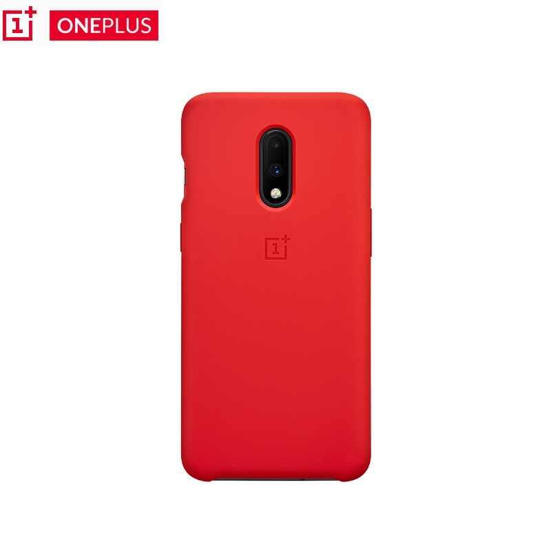 100% Original Oneplus caso 6 T 6 Líquido Silicone Caso para Um Mais 6 T Arenito Vermelho Preto para Oneplus 6 6 T com LOGOTIPO