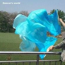 Дешевые вентилятор танец живота вуаль синий белый окрашенный чистый натуральный вентилятор 150/180 см долго вентилятор танца живота для девочек вентилятор танца живота пара