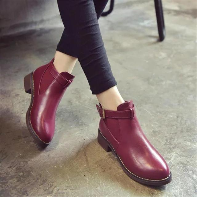 Women Ankle Martin Boots 2018 Autumn Female Casual Shoes Woman Flat Fashion Platform Round Toe Buckle Strap Solid Comfortable 2