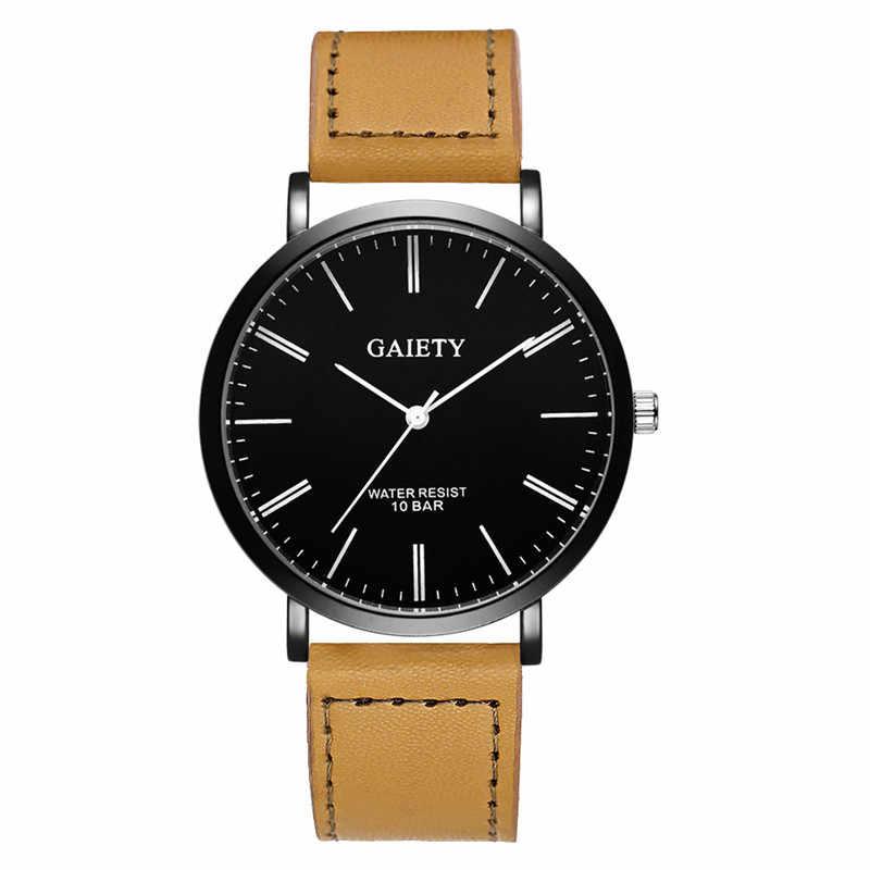 גברים של שעון גברים עסקי אופנה רצועת עור אנלוגי קוורץ עגול שעון יד שעונים drop חינם 2018JUL9