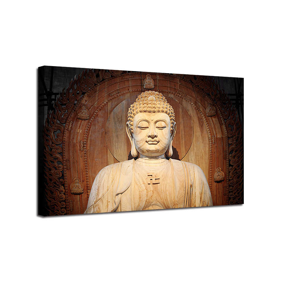 Canvas HD Printed Poster Home Decor 1 Piece/Set Buddha Statue Painting Zen Buddhism Pictures For Living Room Wall Art Framework