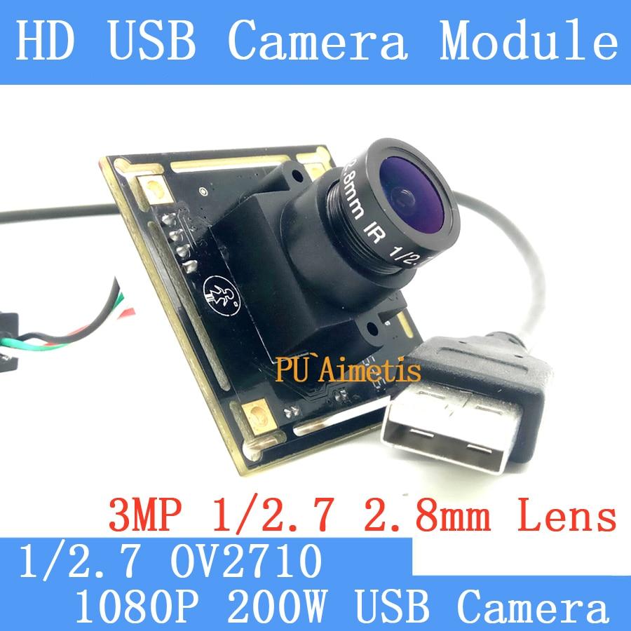 Industry Surveillance camera 1080P Full Hd MJPEG 30fps High Speed CMOS OV2710 2.8mm 120 degree Linux UVC Webcam Usb Camera Modul