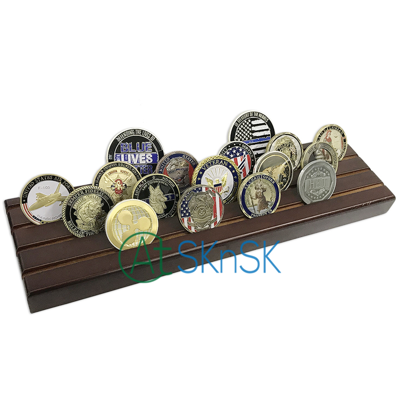 Us 3608 5 Off1pcs Factory Custom Newest Challenge Coins Holder Sounvnir Solid Walnut Wooden Display Stands Rack 4 Rows For Coins Collectibles In