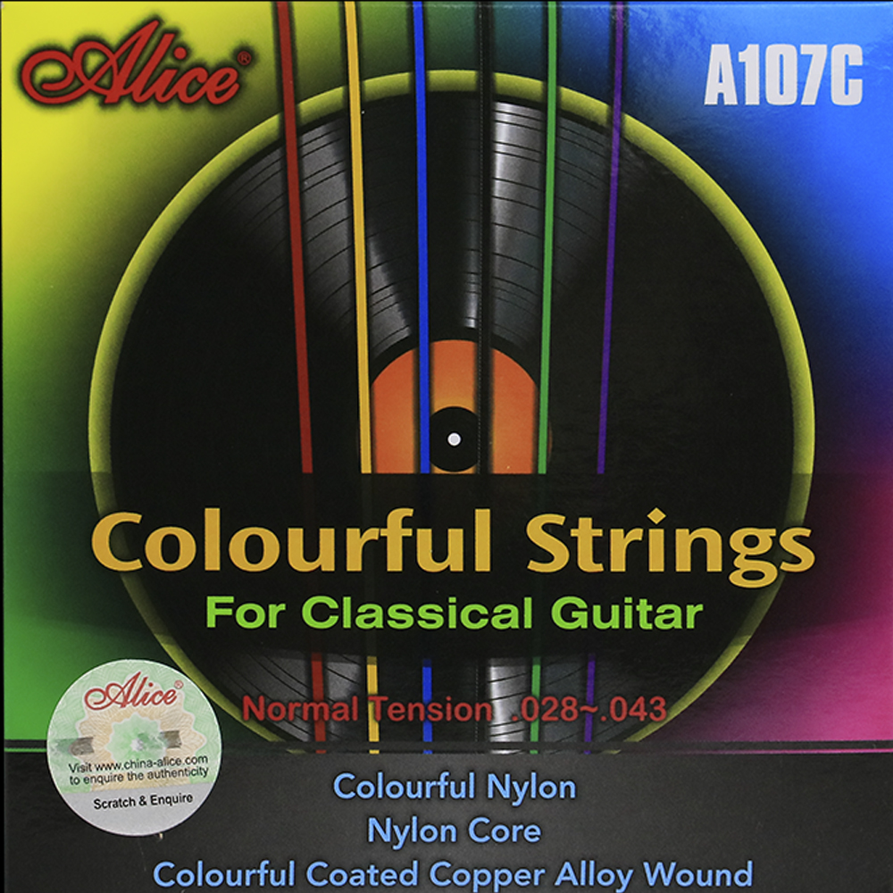 Alice Classical Guitar Strings Set A107C Colorful Nylon Colorful Coated Copper Alloy Wound 12PCS/lot original savarez 500cj classical guitar strings full set nylon strings high tension free shipping