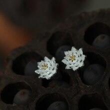 Fold load. S925 pure Tremella nail intime delicate lotus folk style earrings earrings jewelry style