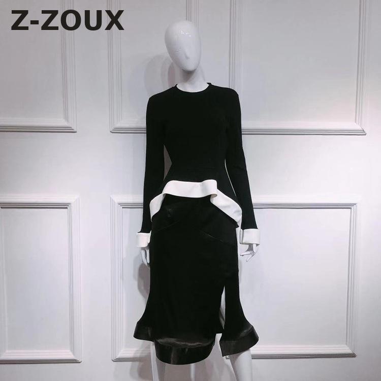 Couleur Volants Jupe Haute Blanc Deux Tops Tops skirt À Noir Pièces Ensemble 2018 Z Flare Manches Correspondant Femmes zoux Femme Couture Taille WqacI8
