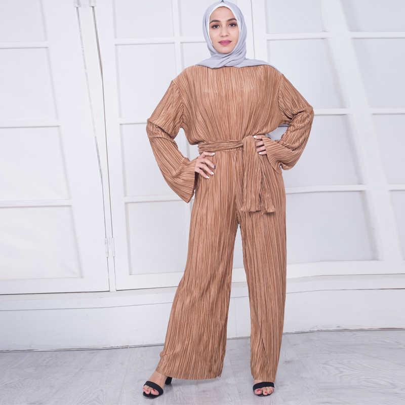 eb5104380e ... Abaya Dubai Robe Femme Kaftan Moroccan Arabic Muslim Pleated Rompers  Qatar Wide Leg Jumpsuit Dresses Turkish ...