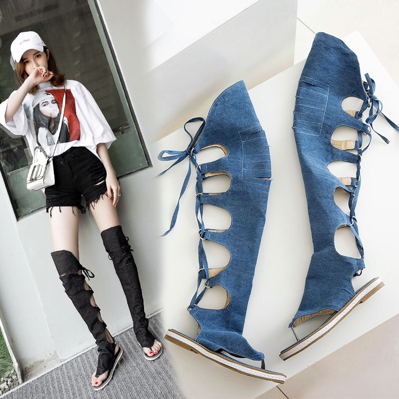 bbdab2648d9f99 NEMAONE Women Thong Shoes Denim Summer Boots Low Heels Over The Knee ...