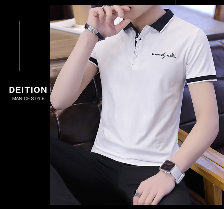 2019 men splicing t-shirts with short sleeves Comfortable in summer youth leisure lapel t-shirts 15