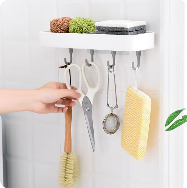 Suction Wall-hung Drain Soap Holder Bathroom Accessories Soap Dish Double Grid Soap Box With Hooks