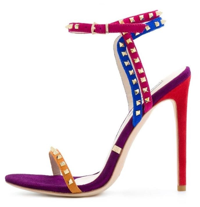 Multicolour Suede Studded Sandals 2018 Women Peep Toe Stiletto Heel Rivets Patchwork Sandals Gladiator Women Drop Shipping in High Heels from Shoes