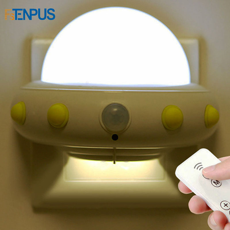 USB Charged Motion Sensor Flying Saucer Shaped Light 5-LED Wall Lamp Night Lights For Kids Baby Nursery Bedroom