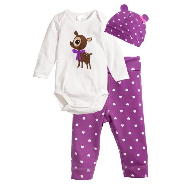 Cervos bonitos Do Bebê Meninas Primavera Outono Roupas Conjunto de Roupas Da Menina Da Criança Bebes Bodysuit Calças Cap Ropa Bebe Menina Define Bebê-roupas