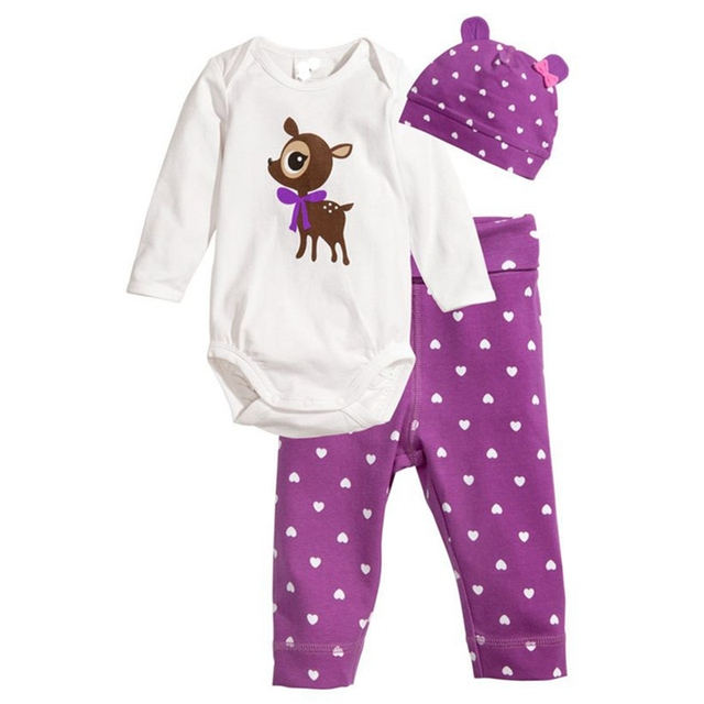 3ba00a3f6 Cute Deer Spring Autumn Baby Girls Clothes Set Toddler Girl Clothing Bebes Bodysuit  Pants Cap Ropa