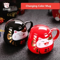 Newest Style Ceramic Cups Changing Color Mug Milk Coffee Mugs Friends Gifts Student Breakfast Cup Lucky Kitty Cat Mugs