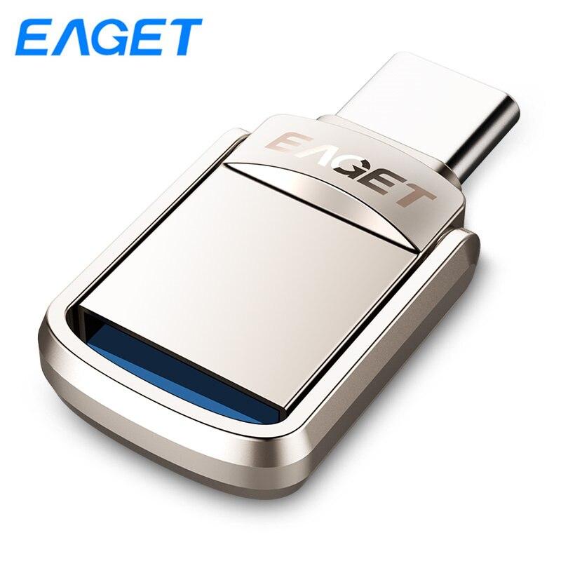 EAGET CU20 OTG USB Flash Drive GB GB 64 32 16GB USB 3.0 Dual Mini Pen Drive USB Chave tipo C 128GB pendrive Flash Drive Memory Stick
